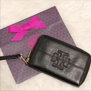 Tory Burch Wristlet Black logo front Bag